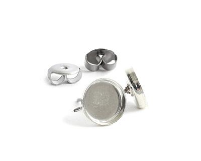 Nunn Design Sterling Silver (plated) Circle Bezel Post Earring 8.5mm