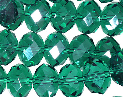 Emerald Crystal Faceted Rondelle 14mm