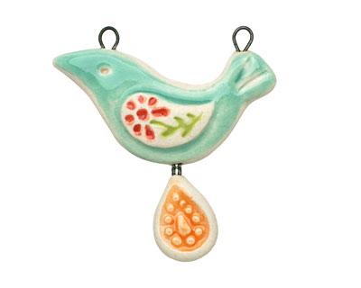 Gaea Ceramic Mint Peace Bird Orange Paisley Egg Pendant