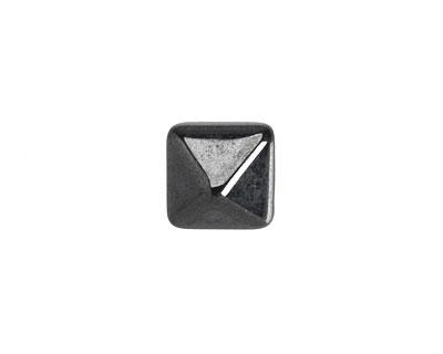 Czech Glass Hematite 2-Hole Pyramid Stud Bead 12mm