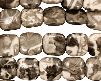 Black Tree Agate Puff Square 10mm