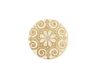 Lillypilly Gold Scrolling Daisy Anodized Aluminum Disc 19mm, 22 gauge