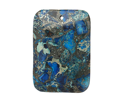 Blue Mosaic Stone w/ Pyrite Thin Pillow Pendant 32x47mm