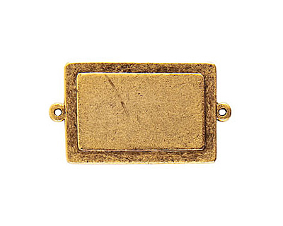 Nunn Design Antique Gold (plated) Raised Tag Rectangle Connector 45x25mm