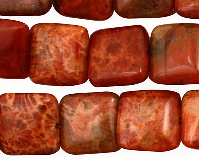 Fossil Coral (red) Puff Square 14mm
