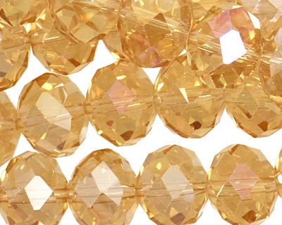 Light Topaz AB Crystal Faceted Rondelle 14mm