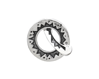 Saki Sterling Silver Sunburst Toggle Clasp 20mm, 21mm bar