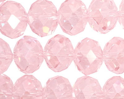 Light Rose AB Crystal Faceted Rondelle 14mm