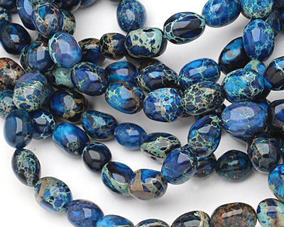 Midnight Blue Impression Jasper Nugget 12-15x8-11mm