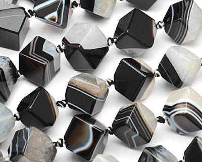 Black Sardonyx Diagonal Drilled Cube 17mm