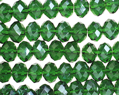 Dark Emerald Crystal Faceted Rondelle 8mm