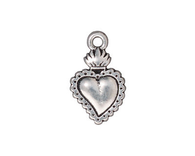 TierraCast Antique Silver (plated) Sacred Heart Milagro 14x22mm