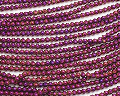 Metallic Purple Hematite (plated) Round 4mm