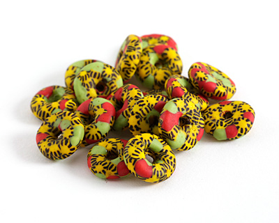 African Recycled Glass & Seed Bead Yellow, Black, Red & Green Donut 4-6x13-15mm