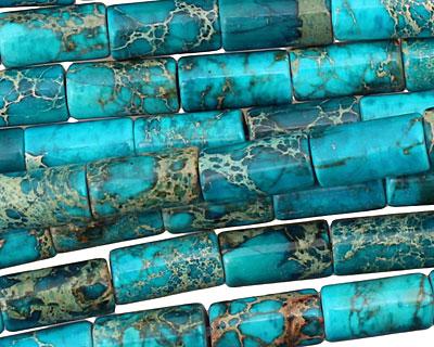Teal Impression Jasper Tube 12x6mm