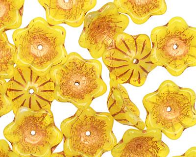 Czech Glass Mustard Seed w/ Copper 6 Petal Flower 6x13mm