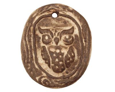 Gaea Ceramic Cream on Chocolate Owl (in a tree) Pendant 36x43mm