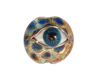 Grace Lampwork Blue Eyed Lentil 27-28mm