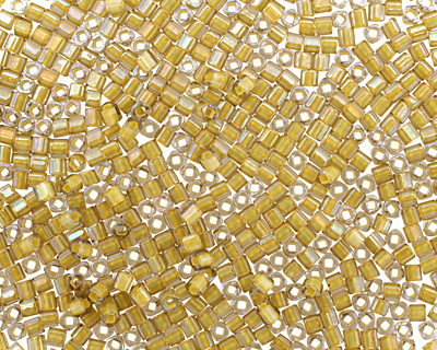 TOHO Luster Black Diamond (with Opaque Yellow Lining) Cube 1.5mm Seed Bead