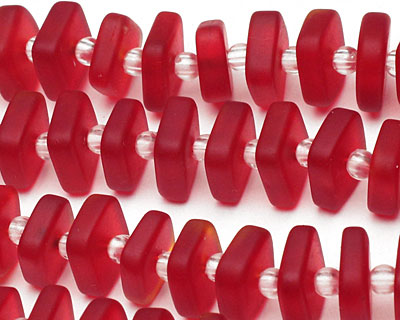 Cherry Red Recycled Glass Squaredelle 3x8-9mm