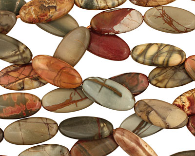 Red Creek Jasper Flat Oval 25x12mm