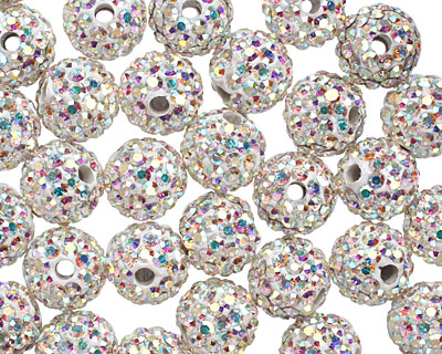 Crystal AB Pave (w/ Preciosa Crystals) Round 8mm