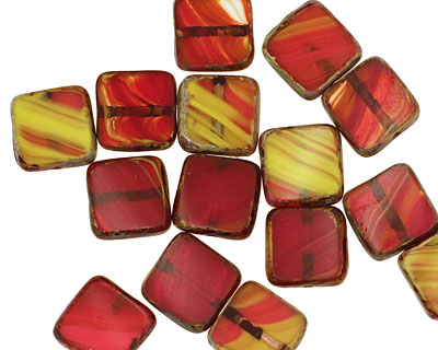 Czech Glass Pimento Olive Square 9mm