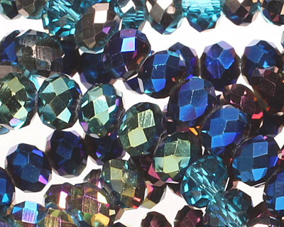 Peacock Metallics Crystal Mix Faceted Rondelle 6mm