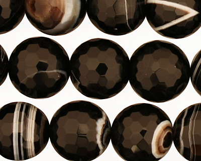 Black Sardonyx Faceted Round 14mm