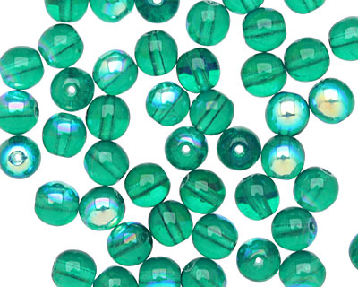Czech Glass Emerald AB Round 6mm