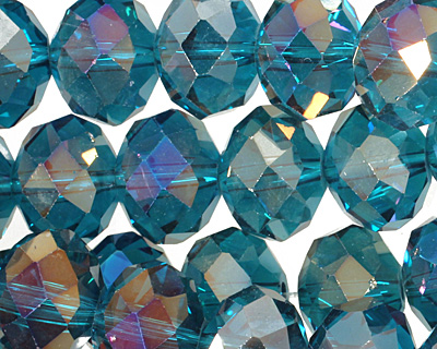 Teal AB Crystal Faceted Rondelle 14mm