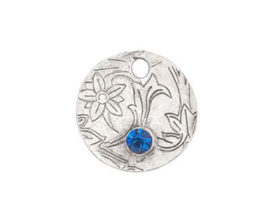 Nunn Design Antique Silver (plated) Decorative Small Circle Tag w/ Sapphire Crystal 20mm