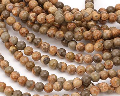 African Brown Rhyolite Round 6mm