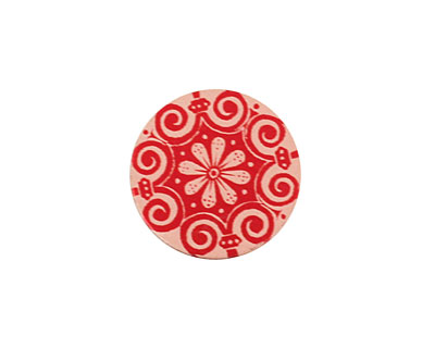 Lillypilly Red Scrolling Daisy Anodized Aluminum Disc 19mm, 24 gauge