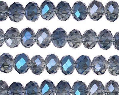 Luster Blue Crystal Faceted Rondelle 8mm