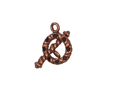 Antique Copper (plated) Multi-Bezel Roped Toggle Clasp 13x17mm, 22x7mm bar