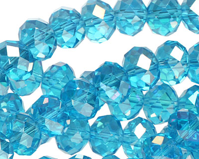 Aquamarine AB Crystal Faceted Rondelle 10mm