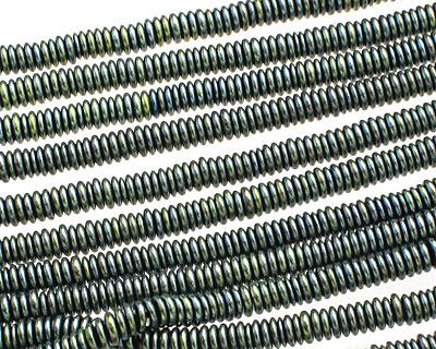 Green Hematite (plated) Rondelle 4mm