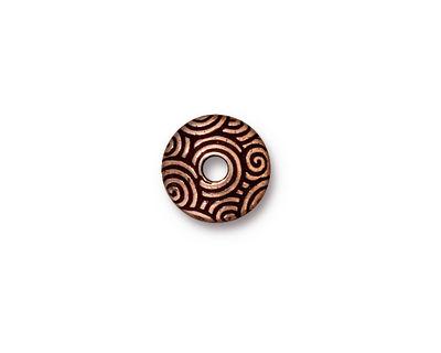 TierraCast Antique Copper (plated) Large Hole Spiral Dance Bead Cap 3x11mm