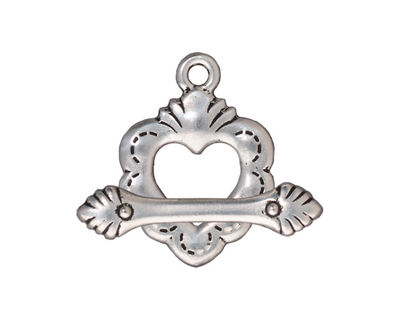 TierraCast Antique Silver (plated) Sacred Heart Toggle Clasp 18x25mm