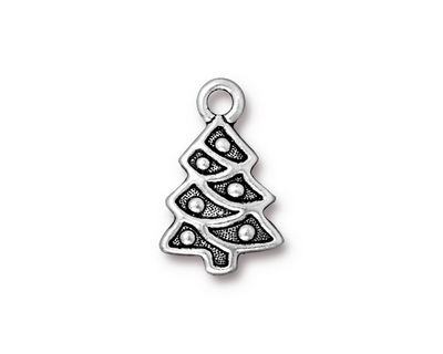 TierraCast Antique Silver (plated) Christmas Tree Charm 12x20mm