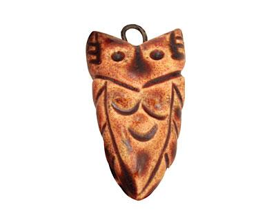 Earthenwood Studio Ceramic Rusty Small Owl Charm 17x31mm