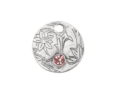 Nunn Design Antique Silver (plated) Decorative Small Circle Tag w/ Light Amethyst Crystal 20mm