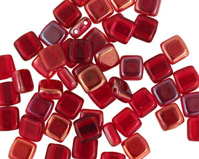 CzechMates Glass Twilight Siam Ruby 2-Hole Tile 6mm
