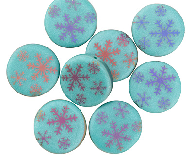 Czech Glass Laser Etched Snowflakes on Turquoise w/ Rainbow Finish Coin 14mm