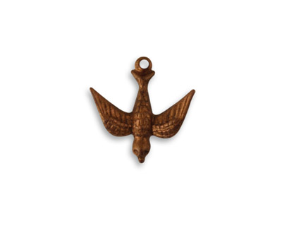 Vintaj Artisan Copper Watchful Bird Charm 16mm