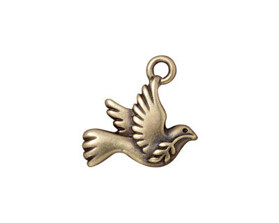 TierraCast Antique Brass (plated) Peace Dove Charm 19mm