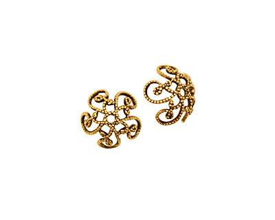 Stampt Antique Gold (plated) Fancy Swirl Bead Cap 10x4mm