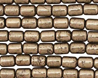 Golden Pyrite (silver tone) Barrel 8x6mm