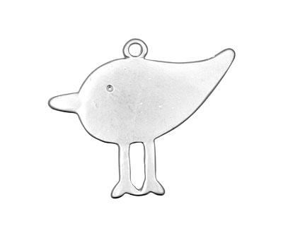 Ezel Findings Rhodium (plated) Big Bird Pendant 31x26mm